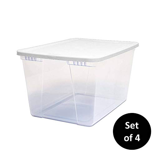 (Homz 56 Quart Snaplock Container Clear Storage Bin with Lid, Set of 4, White, 4 Sets)