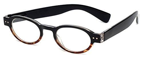 Calabria 4372 Bi-Color Oval Reading Glasses w/ Case in Black-Tortoise +2.75