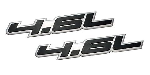 2 x (pair/set) 4.6L Liter Embossed BLACK on Highly Polished Silver Real Aluminum Auto Emblem (Mustang Cobra Emblem)