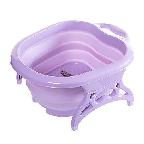 Fine Plastic/Rubber Foldable Foot Tub, Foot Soaking Tub, Bucket for Feet, Portable Folding Travel Foot Wash Basin Feet Spa Bubbling Wheel Bath-Tub (Purple)