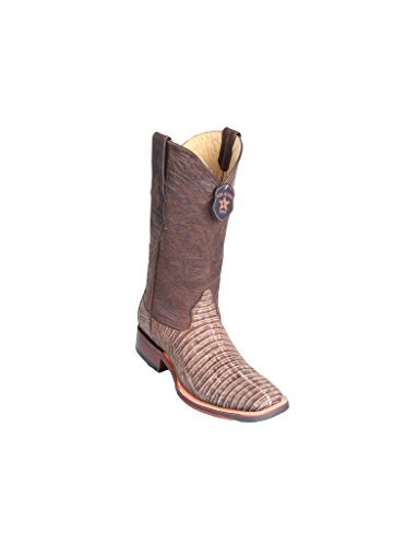 Toe Brown Men's Genuine Wide Skin Boots Lizard Teju Western Square Leather Sanded SnUCqnEF7