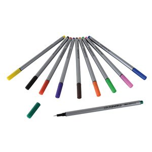 2 Pack of 10 Pens Assorted Colours Fineliners Fine 0.4mm Metal Encased Fibre Tip colours: black brown purple blue dark green light green yellow orange red and pinkColours Fineliners Fine 0.4 Fibre tip pen with 0.4mm line width, Assorted colours, PACK of 1