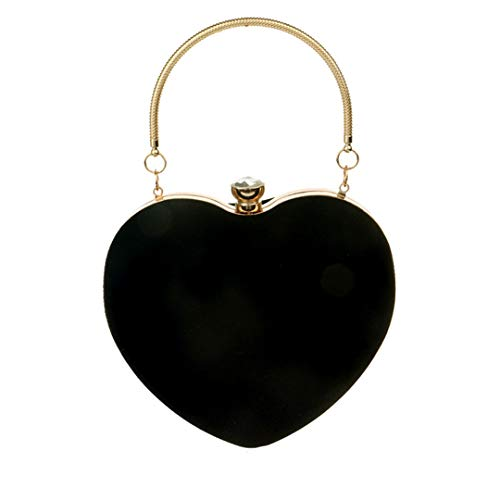 Evening Bags Heart Shaped Diamonds Red/Black Chain Shoulder Purse Day Clutch Bags Party Banquet Bag black (Beaded Red Heart Purse Shaped)