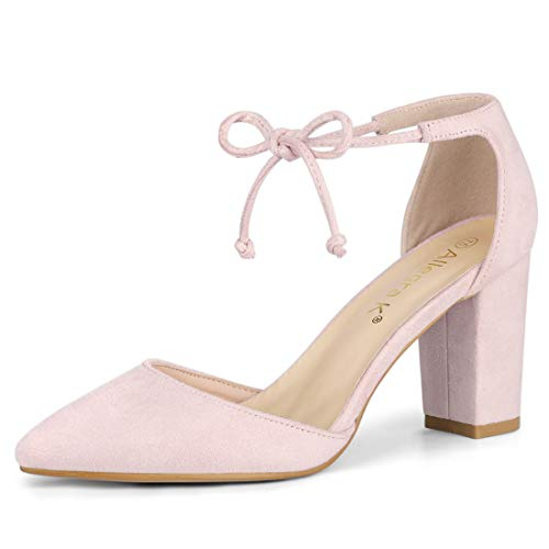- Allegra K Women's Ankle Tie Chunky Heel Pointed Toe Dress Point Toe Dress Pink Pumps - 7 M US