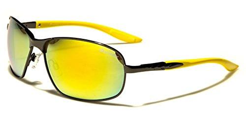 soleil Multicoloured Yellow Lens Lunettes unique Yellow Gunmetal de Homme Taille Oxigen BwRW71qn