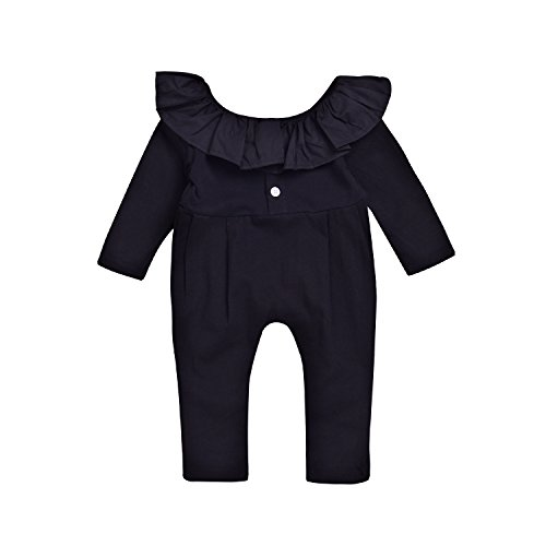 Newborn Baby Girls Lovely Romper Lotus Leaf Collar Bodysuit Outfit Black Long Sleeve Cotton Jumpsuit (12-18Months, ()