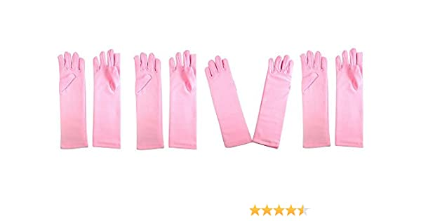Girls Tea Party Stretch Polyester Long Dress Gloves Set of 4 Pink Childrens Private Label