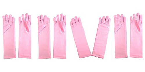 Girls Tea Party Stretch Polyester Long Dress Gloves Set of 4 Pink Childrens (Pink Princess Tea Parties)