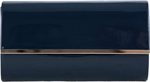 H&G Ladies Patent Glossy Fashion Clutch Evening Bag (Black) Navy