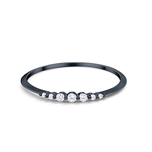 Blue Apple Co. Thin Half Eternity Wedding 2mm Band Ring Round Black Tone, Simulated Cubic Zirconia 925 Sterling Silver Size-5
