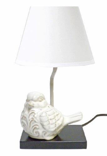 "Ceramic Crackle Bird Lamp Green, Blue or White-15"" (White)"