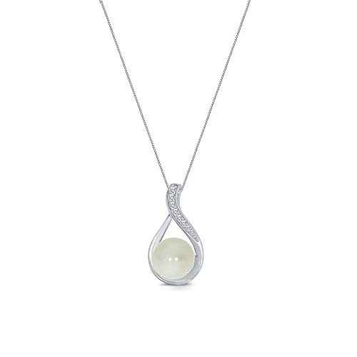 La Joya 925 Sterling Silver 1/14ct Round White Diamond 8.00mm Freshwater Cultured Pearl Tear Drop Diamond Pendant for Teens