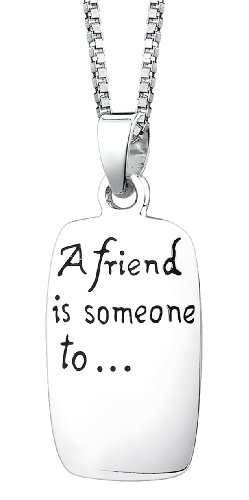 "Sterling Silver ""A Friend Is Someone To, Dream, Cry, Sing, Laugh with "" Reversible Pendant Necklace, 18"""