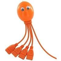 USB Hub 2.0 4-port For Mac and PC. True USB 2.0 Speed. 4-Legged Octopus (TM). Very Cute Octopus Design. (Orange)