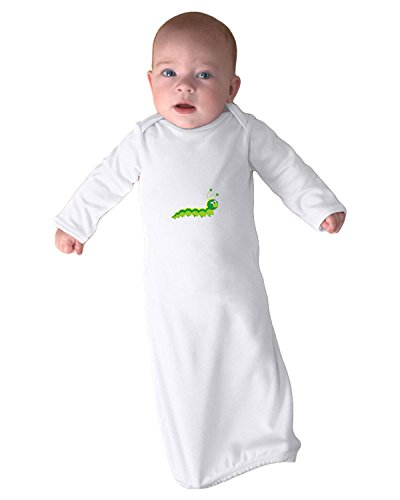 Colorful Baby Hungry Caterpillar Infant Baby Rib Layette Sleeping Gown Only White ()