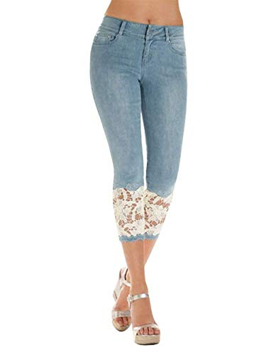 8 Pizzo Tinta Jeans Tasche Jeggings Pantaloni Leggings Bottoni 7 Blau Con Summer Look Unita Splice Capri Abbigliamento Adelina a8qPx