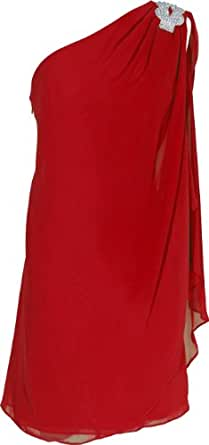 Crystal Knot One-Sleeve Bridesmaid Prom Dress, Small, Red