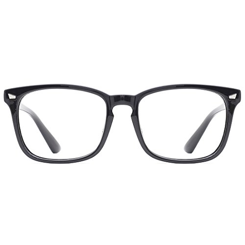 TIJN Blue Light Blocking Glasses Square Nerd Eyeglasses Frame Anti Blue Ray Computer Game Glasses ()