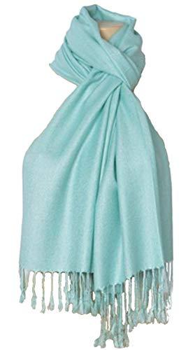 Scarf Aqua - C-More Elegant Pashmina Silk Blend Soft Wrap Scarf Shawl For Women -30+ Solid Colors (Aqua)