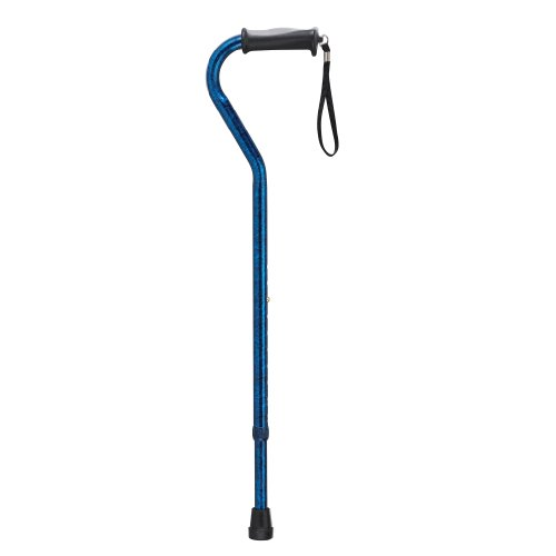 Drive Medical Adjustable Height Offset Handle Cane with Gel Hand Grip, Blue Crackle