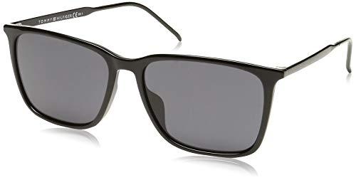 Tommy Hilfiger Men's TH1652GS Square Sunglasses, Black, 55 mm (Tommy Hilfiger Sunglasses For Men In India)