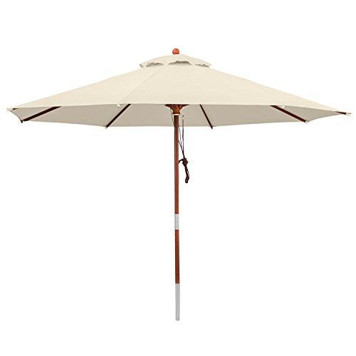 anndora® Sonnenschirm Gartenschirm Marktschirm 3 m rund wasserabweisend - mit Winddach Natural