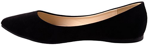 Bella Marie Schoenen Womens Angie-53 Puntige Suede Flats In Verschillende Kleuren En Design Zwart