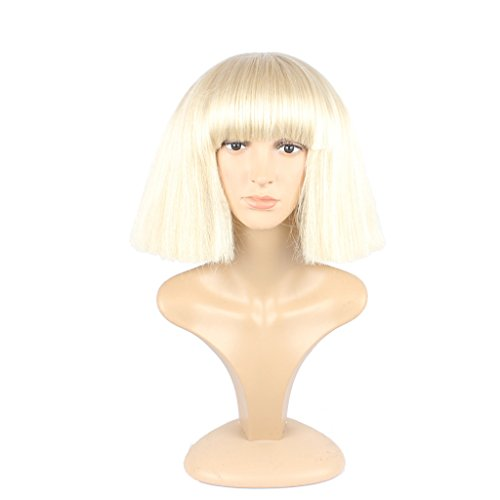 WeKen Fashion Wig Women's Short Bob Kinky Straight Full Bangs Synthetic Hairpieces Blonde - Ladies Blonde Wigs