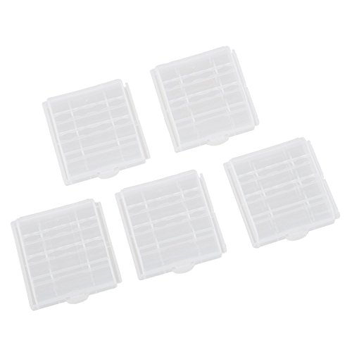 Pack of 5Pcs Clear Plastic Battery Box Storage Case Cover Holder For AA AAA Batteries