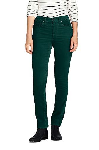 Lands' End Women's Tall Mid Rise Straight Leg Corduroy Pants, 16 34, Deep -