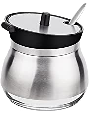 Sugar Bowl - Libara, Stainless Steel Sugar Cup with Lid and Sugar Spoon, Spice Salt Server and Pepper Storage Organizer, Seasoning Box Containers