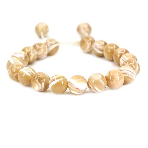 AMANDASTONES Natural Khaki Mother of Pearl Gemstone 10mm Round Beads Adjustable Braided Macrame Tassels Chakra Reiki Bracelets 7-9 inch Unisex