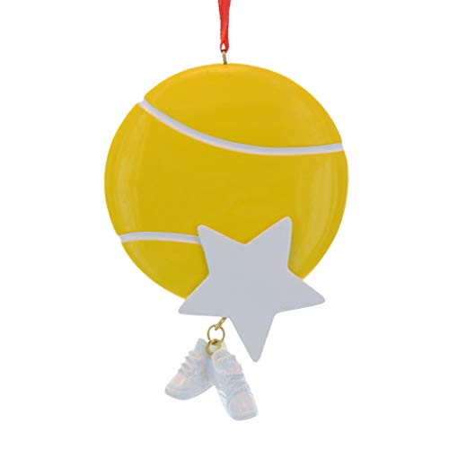 Personalized Tennis Christmas Tree Ornament 2019 - Sports Ball Gold Star Sneakers Dangle Team Player Athlete USOPEN Coach Hobby School Active Foot Profession Gift Year - Free Customization