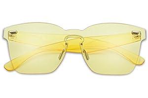 SunglassUP Colorful Transparent Square Super Retro One Piece Horn Rimmed Sunglasses Monoblock Lenses