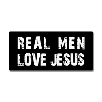 Real men love jesus window bumper sticker