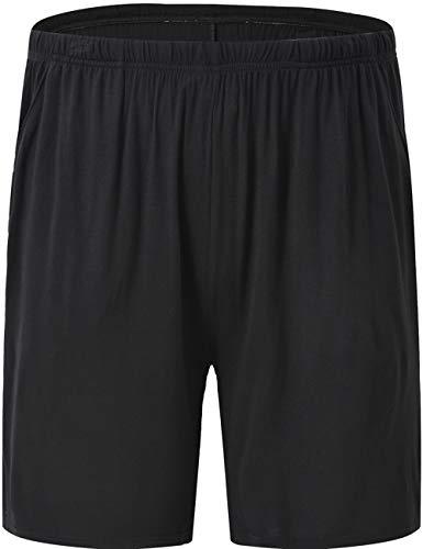 JINSHI Sleeping Pajama Bottoms for Men Soft Modal Stretch Boxer Sleep Lounge Shorts, Black, Size M - Modal Sleep Short