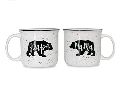 Cam n Honey Mama Bear & Papa Bear Funny Campfire Couples Coffee Mug Set-14oz Ceramic Mugs-Perfect Gift for Parents