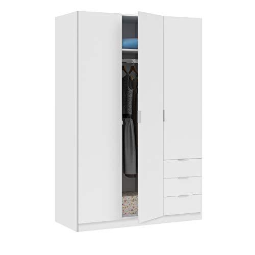 Habitdesign – Armoire penderie de Trois Portes et Trois tiroirs, Dimensions 180 x 121 x 52 cm de Fond Blanc Mat
