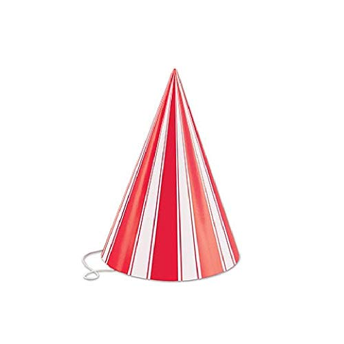 Bargain World Red and White Striped Cone Hat - Pack of 144 (with Sticky -