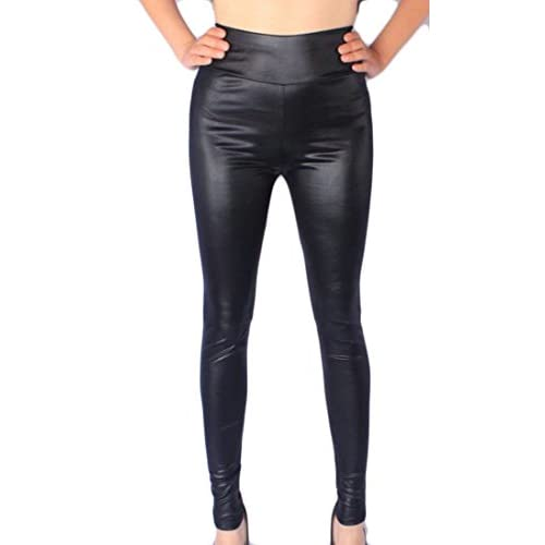 Wholesale Cruiize Womens High Waist Leggings Plus Size Stretch Faux Leather Tights free shipping