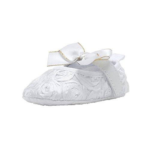 Hunpta Neugeborenes Baby weiche Unterseite rutschfeste Schuhe Mädchen Krippe Jane große Blume Schuhe Weiß