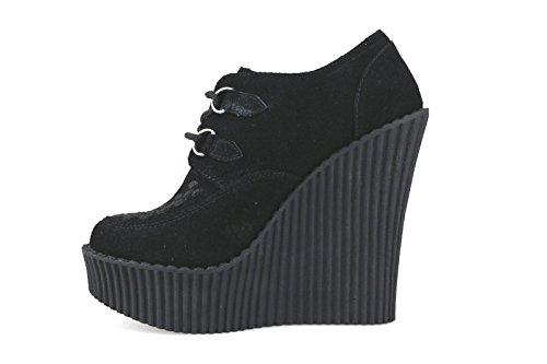 TUK - Zapatos de vestir de ante para mujer negro negro