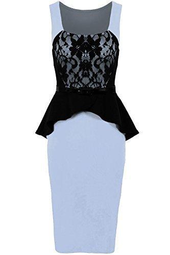 Fantasia Boutique Damen /ärmellos mit G/ürtel Spitze Contrast Damen gewickelt Sch/ö/ßchen Bodycon Kleid