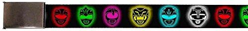 """Blank Chrome 1.25"""" Buckle Power Ranger Heads Black Multi Color Glow Webbing Web Belt 1.25"""" Wide"""