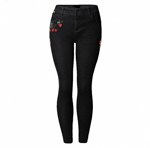 Women's Vintage Flower Embroidery Jeans Stretch Denim Ankle Length Pants Female Skinny Trousers High Waist Jeans Black XXL ()