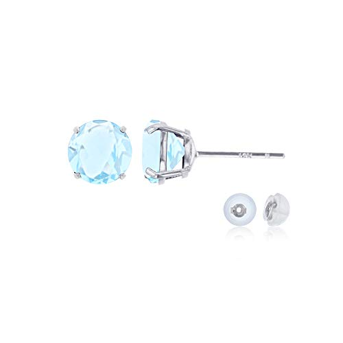 Genuine 14K Solid White Gold 6mm Round Natural Aquamarine March Birthstone Stud Earrings