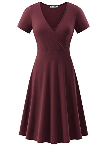 MSBASIC Women's Deep V Neck Short Sleeve Unique Cross Wrap Casual Flared Midi Dress Burgandy ()