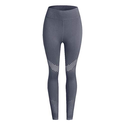 PAQOZ Women's Yoga Pants Seamless Solid Yoga Sports Tight Pants Hips High Waist Thread Pant Novelty Leggings (Gray, S/M)
