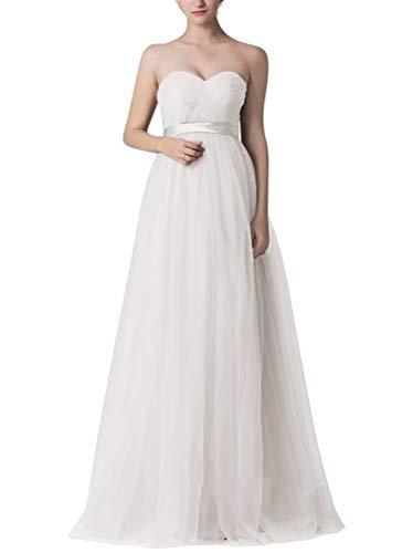 Sheath Strapless Column (NaXY Womens Sheath-Column Floor Length Tulle Sleeveless Convertible Bridesmaid Dresses)