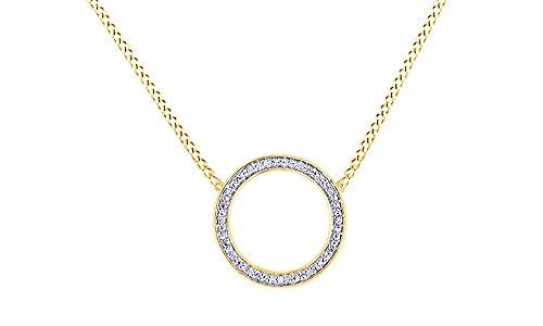 AFFY White Natural Diamond Circle Pendant Necklace in 14k Yellow Gold Over Sterling - Circle White Gold Pendant